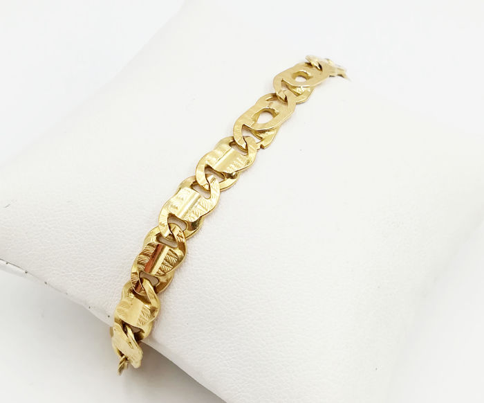 18 kt yellow gold bracelet with textured, flexible chain links, length 20.00 cm