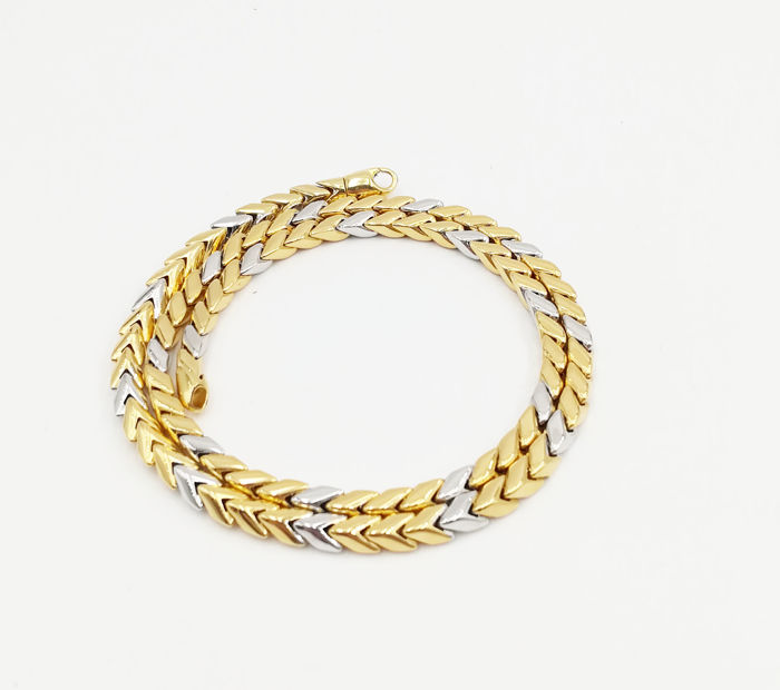 Maistrello - 18 kt yellow and white gold necklace, wheat links, length: 42.00 cm, total weight: 24.57 g
