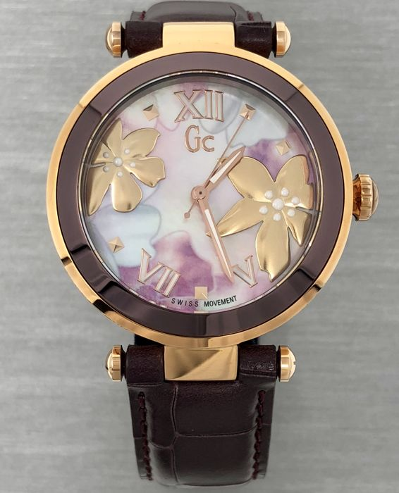 "Guess Collection  - ""NO RESERVE PRICE"" CG LadyChic IP Rose Gold Floral Pattern Swiss Made - Y21001L3  - Dames - 2011-heden"