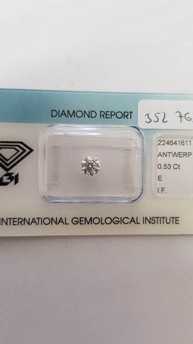 1 pcs Diamond - 0.53 ct - Briliant - E - IF (perfect)