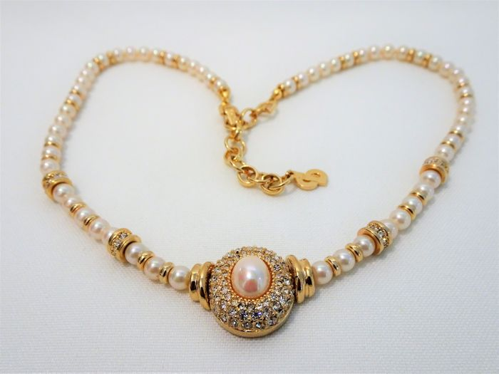 CHRISTIAN DIOR  -  Gold  Faux Pearl Necklace with Diamond Bright Swarovski crystals - 1970s
