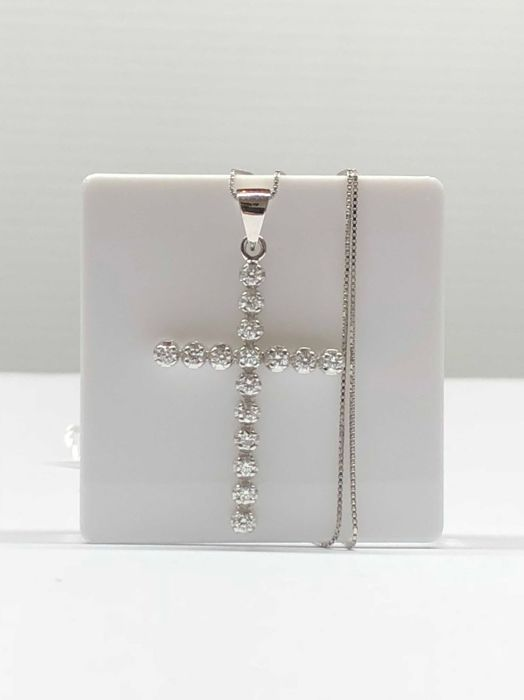 18 kt. White gold - Necklace, Necklace with pendant - 0.48 ct Diamond