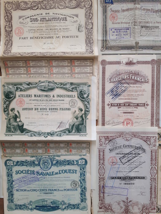 best choice sold worldwide cute cheap Collection 16 original historic maritime shares and bonds ...