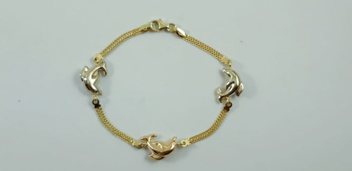 Women's bracelet in 18 kt yellow, white and rose gold - 18 cm