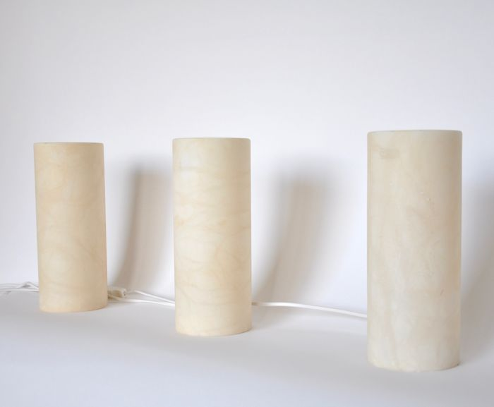 Designer unknown - Manufacturer unknown - Set of Alabaster (plaster marble) table lamps