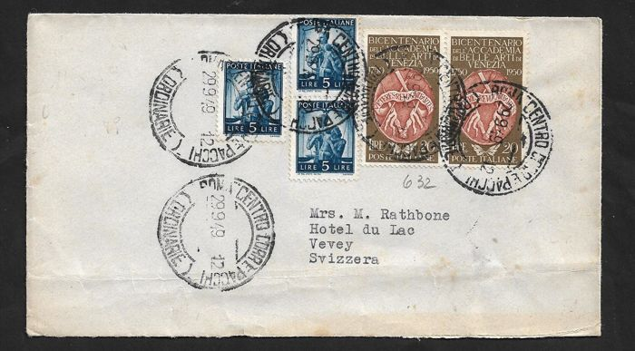 italy republic 1949/1951 - lot of 9 letters with commemoratives