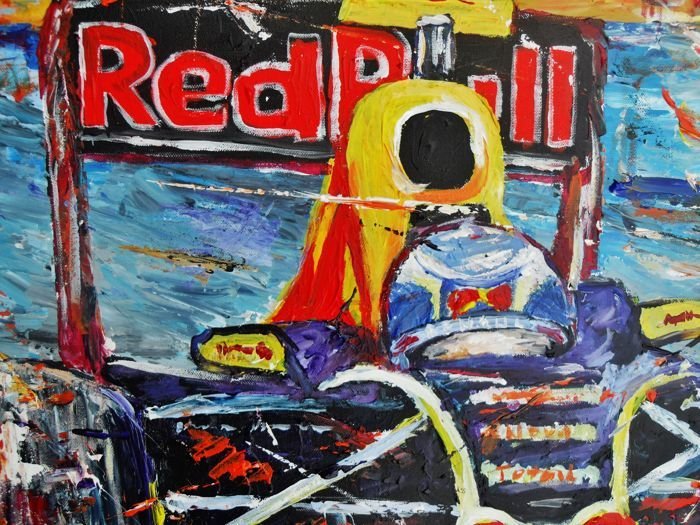 Acrylic paint on canvas, signed 2017 Max Verstappen Formule 1