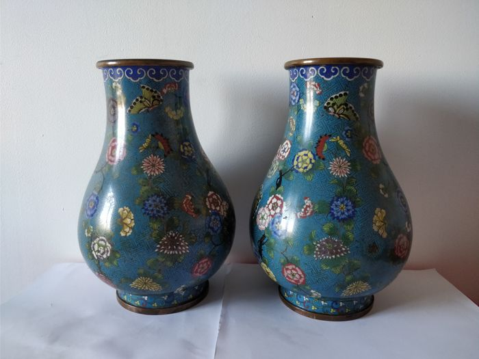 Pair of vases in cloisonné enamel on copper with decoration of flowers and birds, China, 19th century