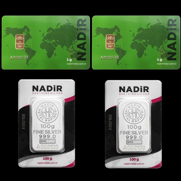 2x1g (999,9) Gold + 2x100g (999) Silver - Mix Lot - Nadir - Seal + certificat