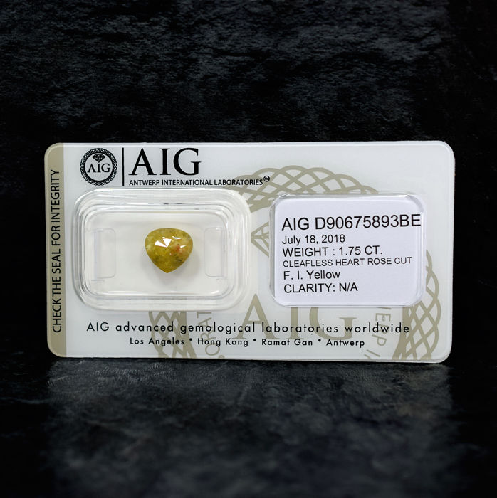 Natural Fancy Intense Yellow Diamond - 1.75 ct