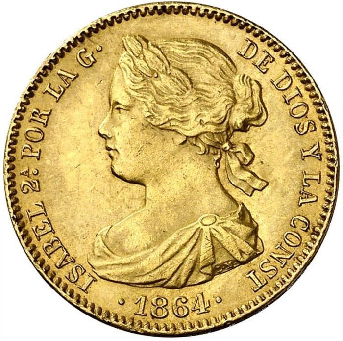 Spain - 100 Reales (1833-1868)Isabe II 1864 - Gold