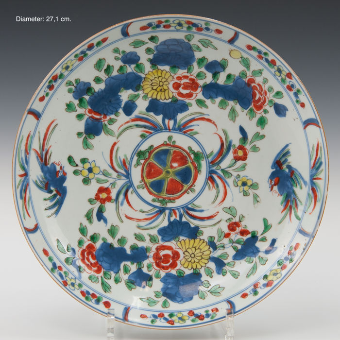 Beautiful large polychrome porcelain plate - flowers and birds - China - early 18th century (Kangxi period)