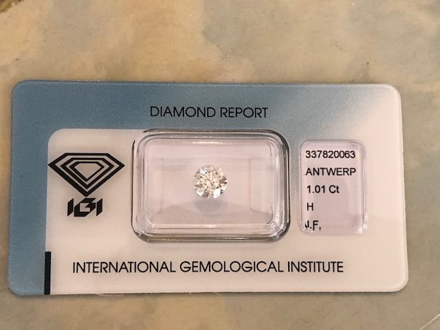 1 pcs Diamant - 1.01 ct - Briljant - H - IF (intern zuiver)