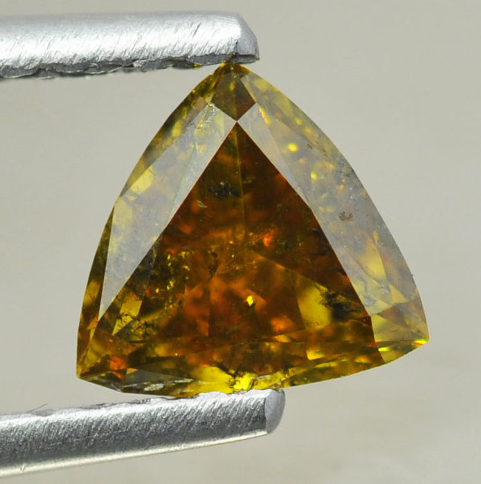 1,28 ct - Natural Fancy Diamond - Deep Brownish Orangy Yellow - I 1
