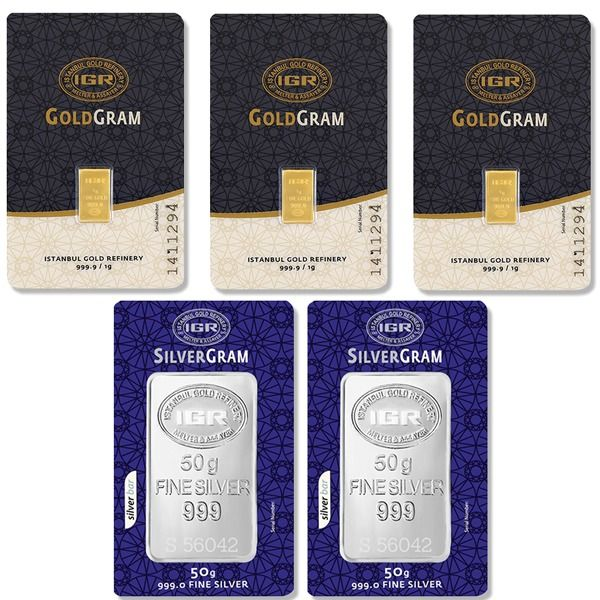 IGR- 3x1 gr. gold + 2x50 gr. silver - 999/1000 - Minted/ Sealed  ***Save on the shipping cost ***