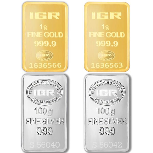 2x1g 999,9 Gold + 2x100g 999 Silver - Mix Lot - IGR - Seal+Certificaat