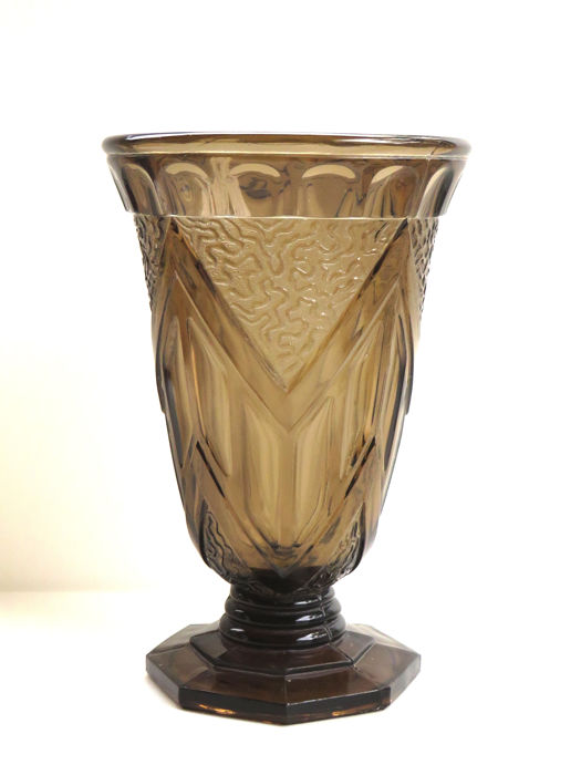 Bohemian Pressed Glass Smokey Brown Vase Catawiki