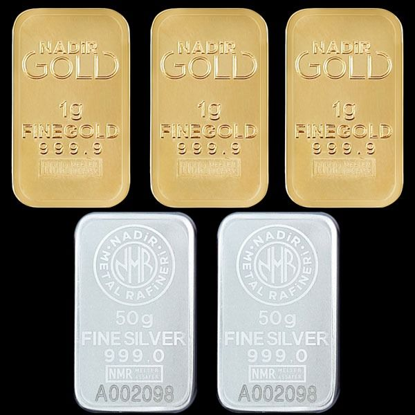 3x1g (999,9) Gold + 2x50g (999) Silver - Mix Lot - Nadir - Seal + certificat