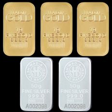 3x1g (999,9) Gold + 2x50g (999) Silver - Mix Lot - Nadir - Seal+Certificaat