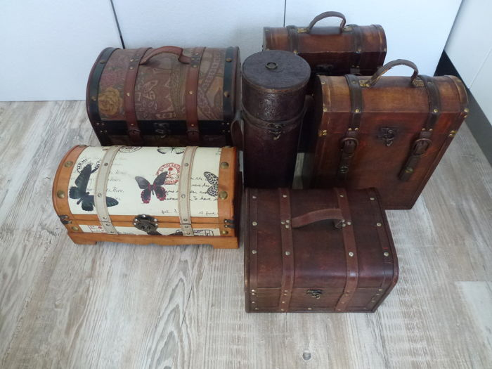 Lot Of 6 Decorative Wine Boxes Wine Boxes Gemengd Lot Hout