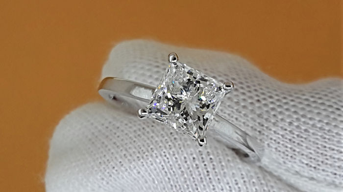 1.55 carat Princess treated Diamond Solitaire Engagement Ring in Solid White Gold 14K