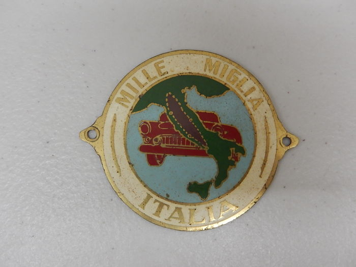 Insigne - Mille Miglia Italia Brass Paint Car Badge - 0-1970