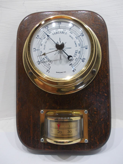 Barometer met Thermometer - hout , messing