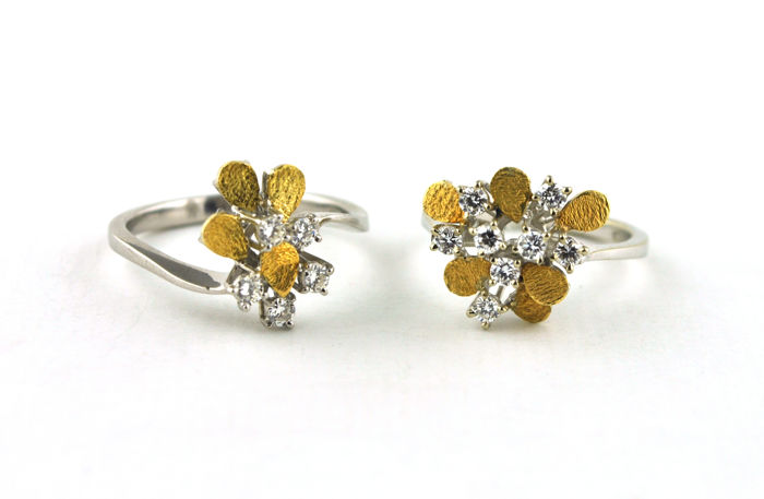 Exclusive Set of 2 Flower setting - 18 kt. Gold, White gold - Ring Diamond - Diamond