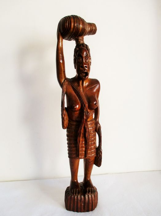 Hand carved African Women statue (64 cm) - Fa- Ébenfa