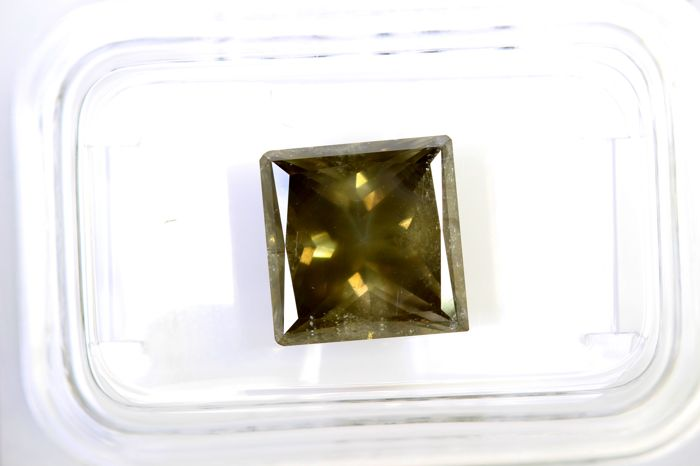 AIG Sealed Diamond - 3.88 ct - Fancy Light Greenish Yellowish Brown  - SI2