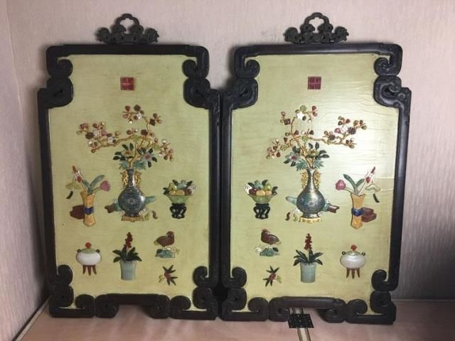A pair of lobular hard wood hanging panels with hard stones  - China - late Republic period