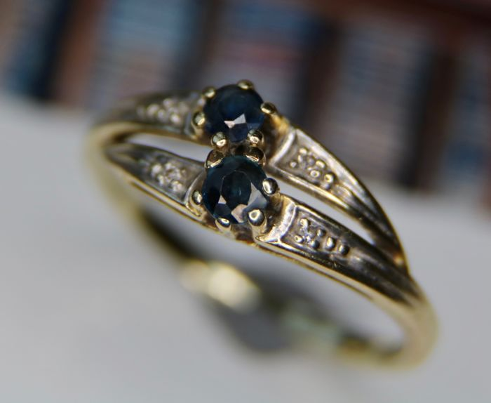 Ring, Vintage 1950 - 14Kt, Gold, White gold - 0.31 ct - Sapphire and Diamond