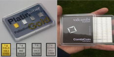 Valcambi - Quattro Preziosi, each is 1 g of 999 gold - 1 g of 999 platinum - 1 g of 999 palladium + 1 g of 999 silver + 100 g silver slab