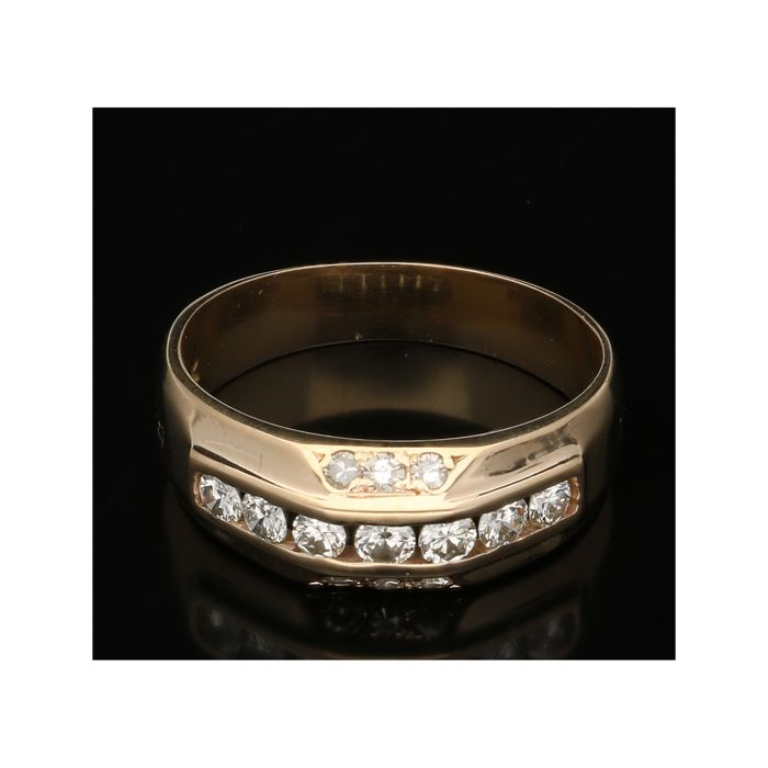 14 kt - Yellow gold women's fantasy ring set with 13 diamonds of approx. 0.48 ct. - Ring size: 18.5 mm