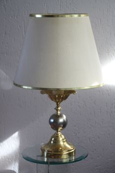 Table lamp with solid metal base - Tin and brass
