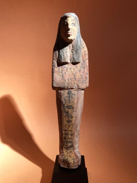 Oud-Egyptisch Hout Grote polychrome shabti voor Akh-Netjer - 21 cm