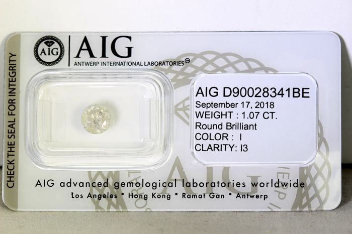 AIG Antwerp Sealed Diamond - 1.07  ct - I  , I3