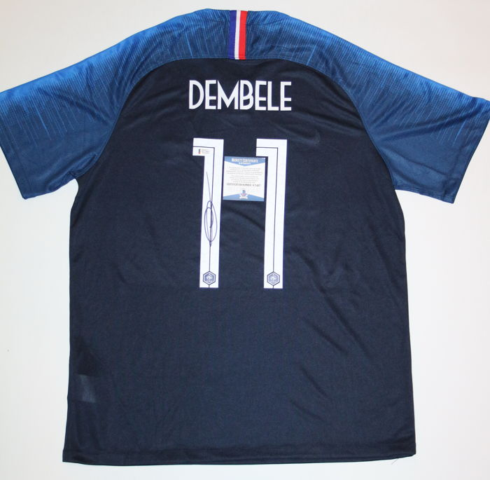 ed05b61ac Ousmane Dembele #11 Signed Authentic Nike France Soccer World Cup Winner  Jersey AUTO Sz XL