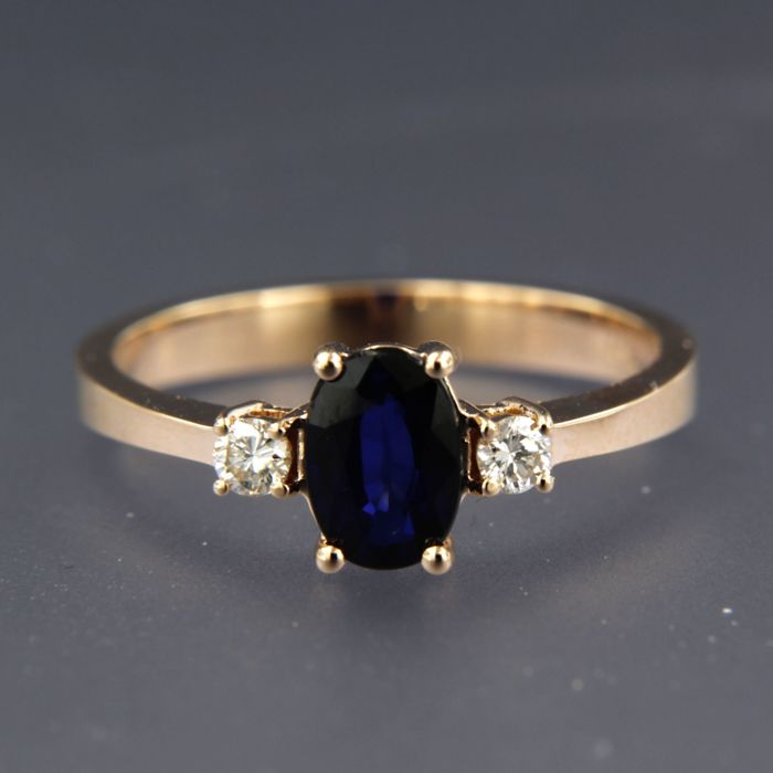 Ring - Pink gold - Diamond and Sapphire