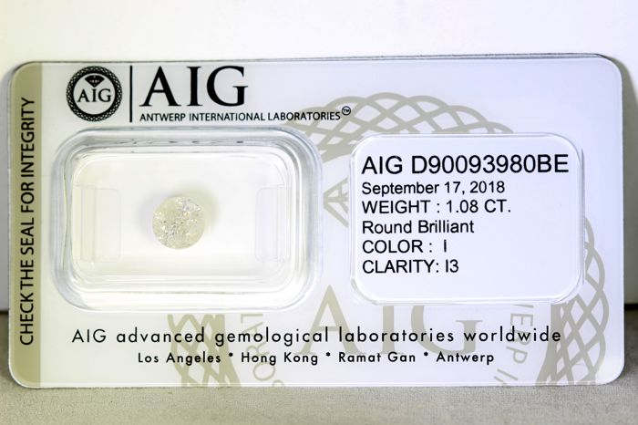 Diamant - 1.08 ct - Brillant - I - P3 - No Reserve Price