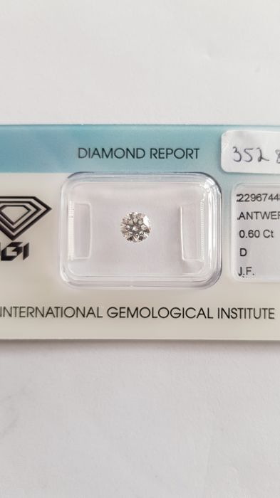 1 pcs Diamond - 0.60 ct - Briliant - D (fără culoare) - IF (perfect)