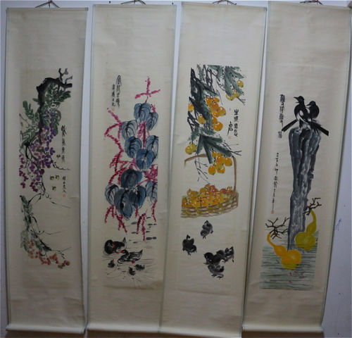 4 Hand-painting in the style of Qi Baishi - China - late 20th century