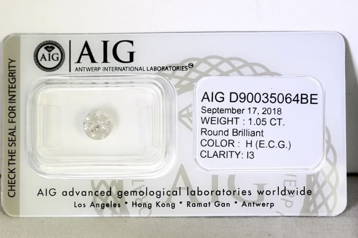 Diamante - 1.05 ct - Brillante - H - * NO RESERVE PRICE *