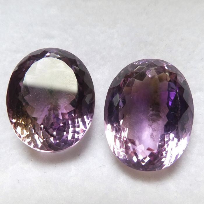 Ametrine Matching Pair – 32.82 ct Total – No Reserve Price