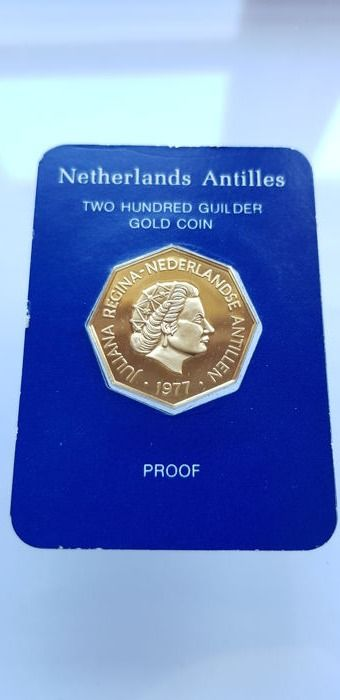 Netherlands Antilles - 200 Gulden  1977 'Peter Stuyvesant' - Juliana - Gold