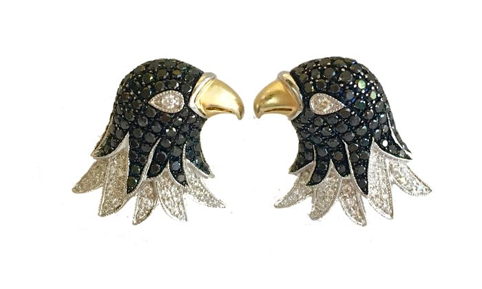 Eagle's Head Cufflinks - 18kt Gold - 2ct White & Black Diamonds