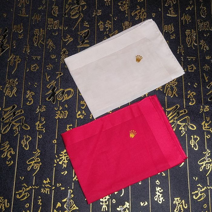 Rolex pure cotton towel, red and beige