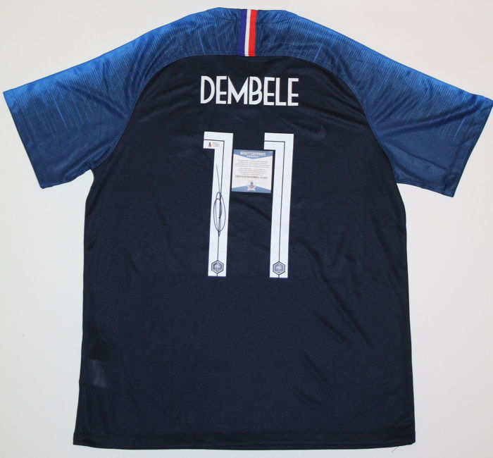 4af728746 Ousmane Dembele #11 Signed Authentic Nike France Soccer World Cup Winner  Jersey AUTO Sz XL BAS WITNESSED COA Autographed. No reserve Price.