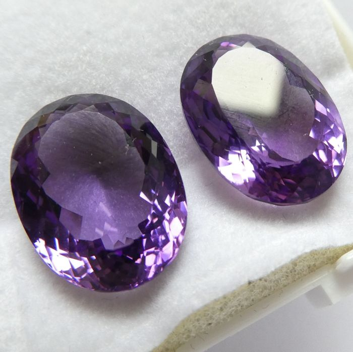 Amethysts Matching Pair – 17.50 ct Total – No Reserve Price
