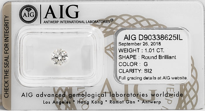 1.01 CT Round Brilliant Cut  G / SI2  *** Low Reserve ***